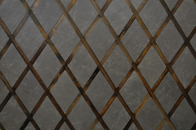 KLAD Luxury Leather Wall in Diamond Pattern with Wood Detail