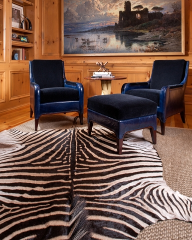 Zebra Rug and Leather Chairs Keleen Leathers, Inc.