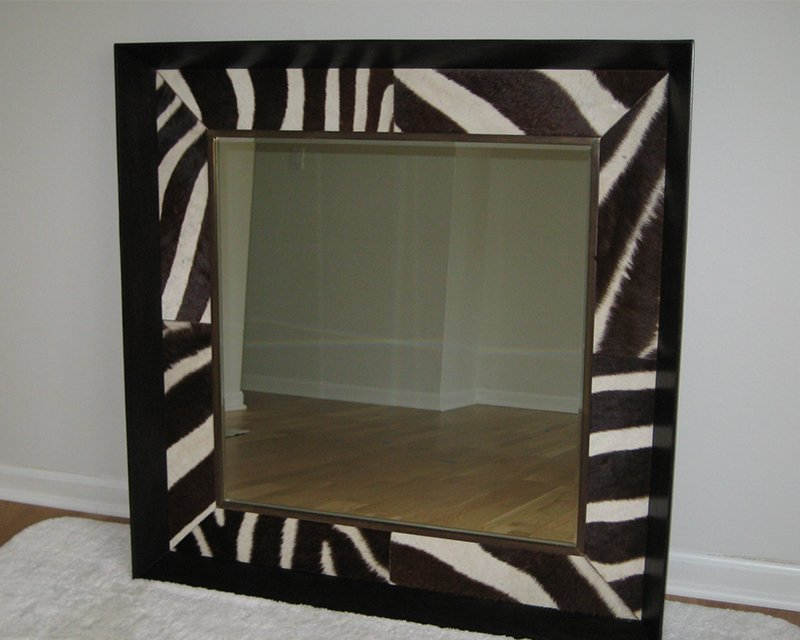 Mirror Upholstered in Zebra by Keleen Leathers