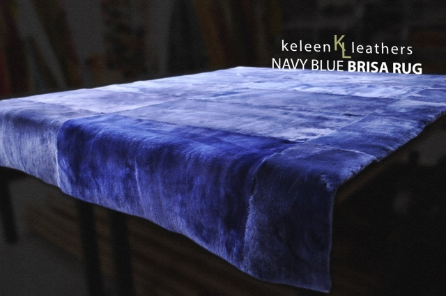 Navy Blue Shearling Rug by Keleen Leathers, Inc.