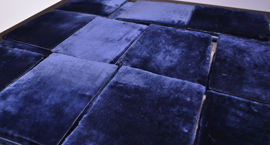 Keleen Leathers KLAD leather tiles in Navy Blue Shearling