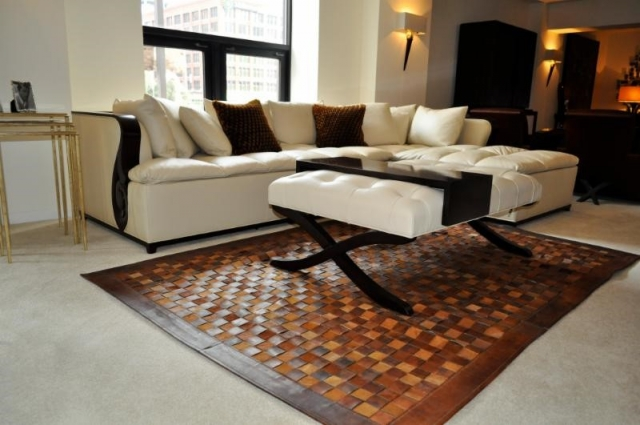 woven leather rug Keleen Leathers, Inc.