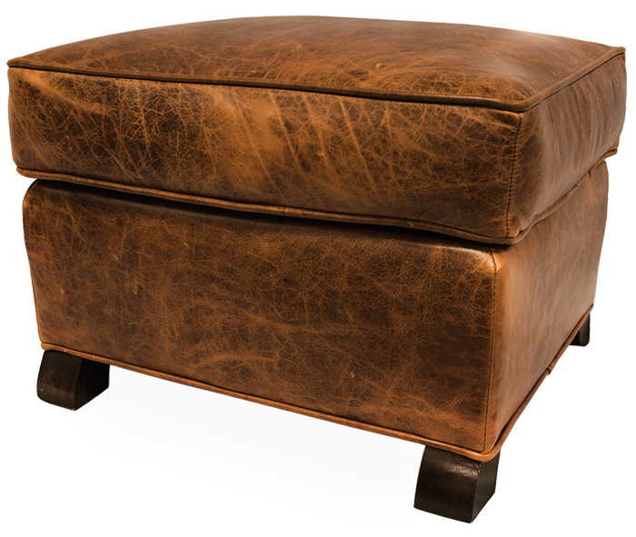 Ottoman Upholstered in Worn Out by Keleen Leathers