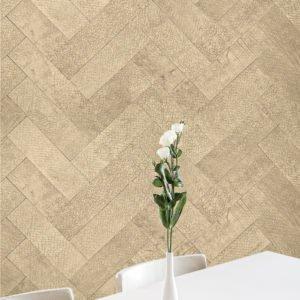 Keleen Leathers KLAD Luxury Leather Wall in Herringbone Pattern