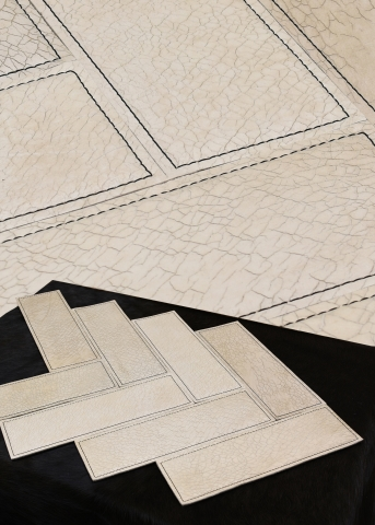 KLAD Luxury Leather Wall in Herringbone Pattern With Stitched Detail