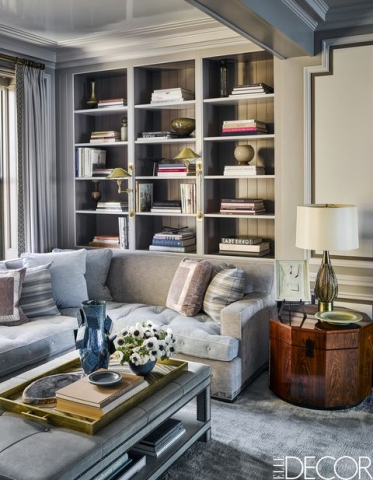 Steven Gambrel's Apartment with Custom Ottoman in Leather By Keleen