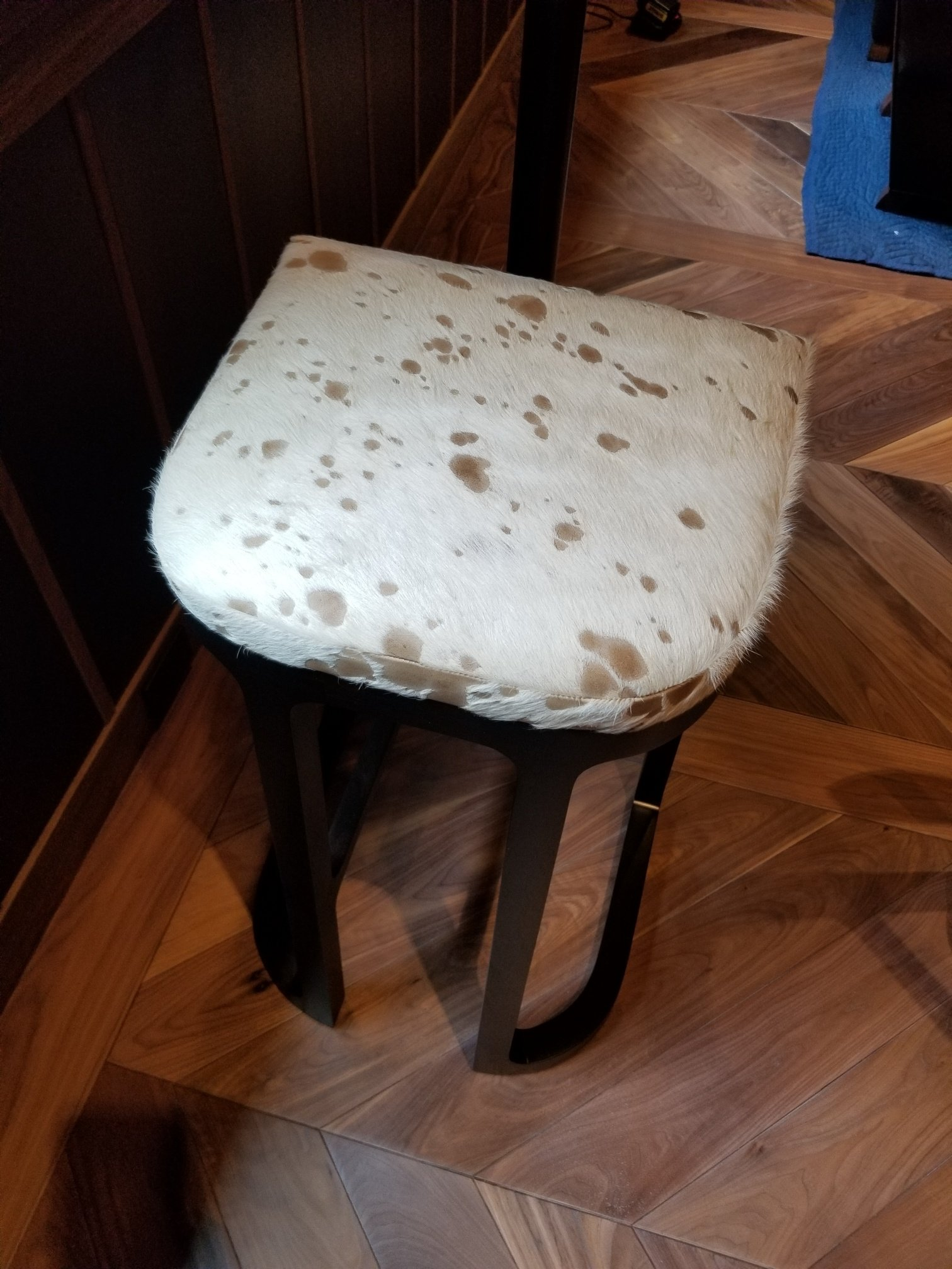 Keleen Leathers Upholstered Bar Stool in Hair Parlor