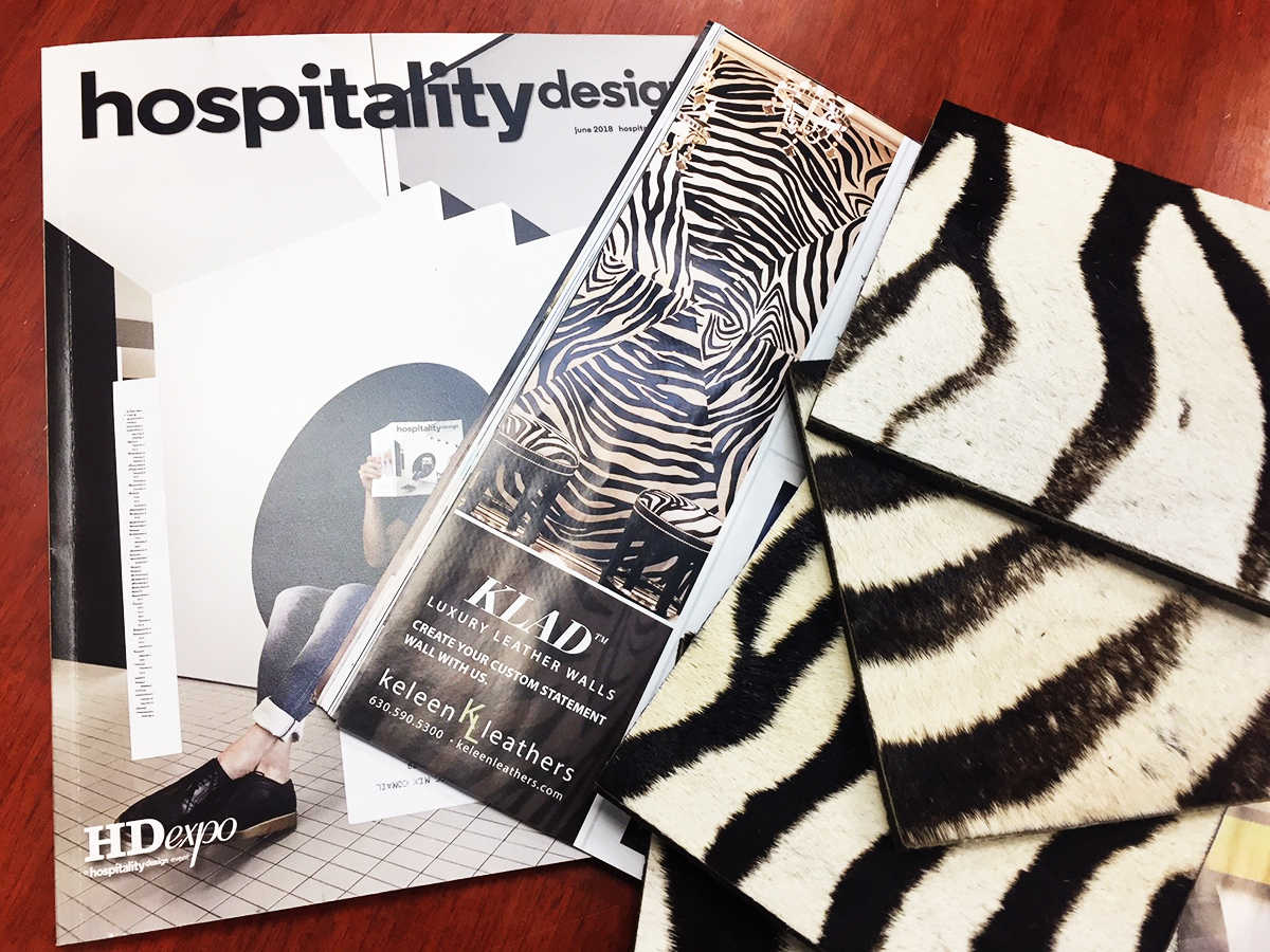 Keleen Leathers Featured In Hospitality Design S June 2018 Issue Keleen Leathers